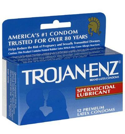 Spermicidal condom with anal