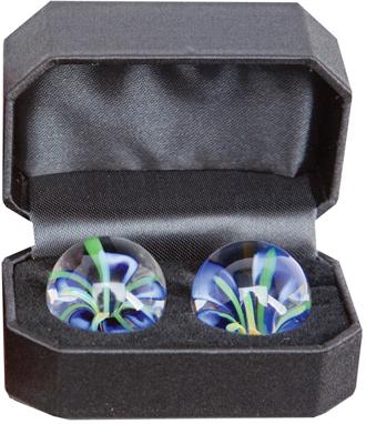 Blue Blossoms Glass Ben Wa Balls