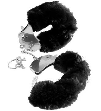 Fake Fur Handcuffs Black