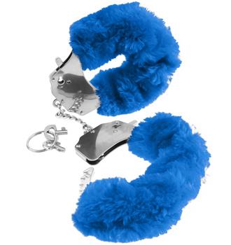 Fake Fur Handcuffs Blue
