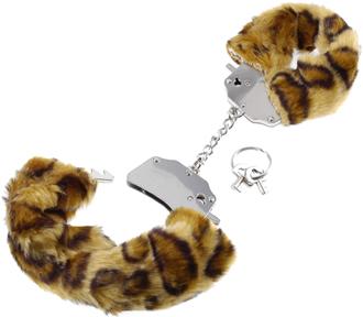 Fake Fur Handcuffs Cheetah