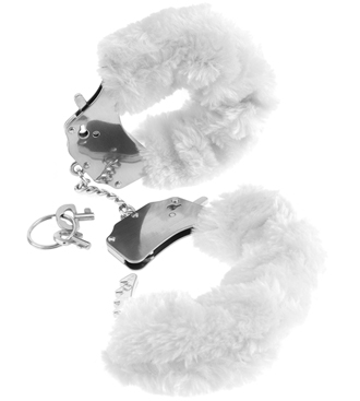 Fake Fur Handcuffs White