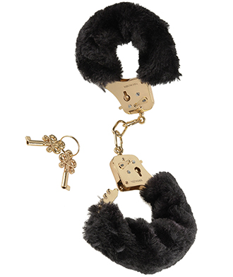 Deluxe Gold Furry Cuffs