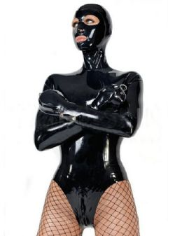 Handmade Latex Catsuit with hoods gloves fetish Bodysuits