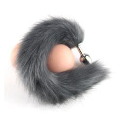 Black Wolf Fake Hair Metal Anal Sex Toy
