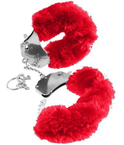 Fake Fur Handcuffs Red