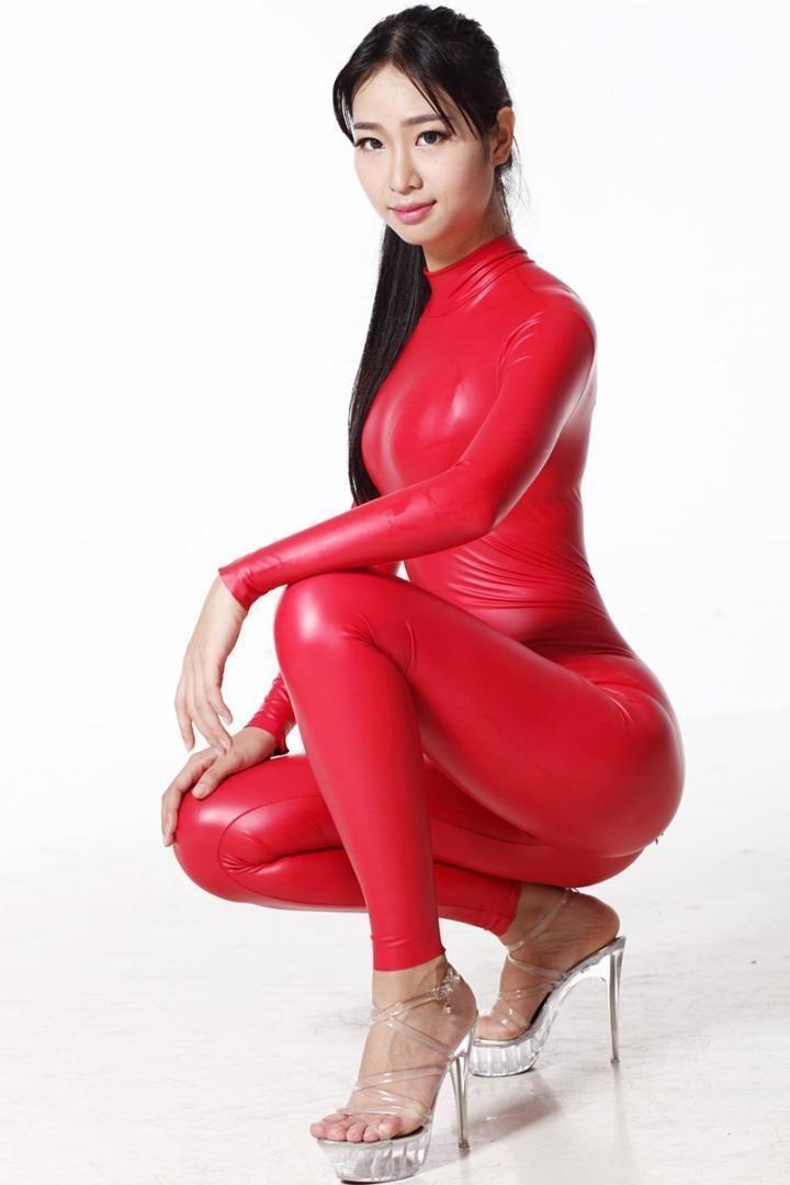Sexy Women Full Body Shiny Leotard Bodysuit Latex