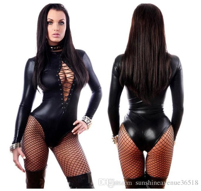 Black Sexy Leather Dresses Long Sleeve Bodysuits